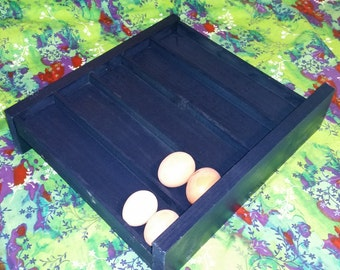Navy Blue Sloped Egg Rack - 35 Eggs (Counter or Fridge Storage)