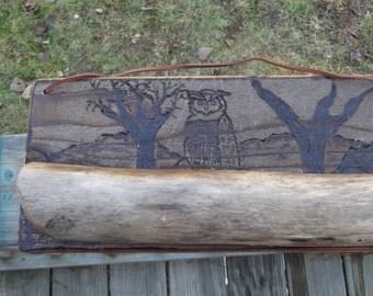 repurposed wood, driftwood wood burned owl plaque