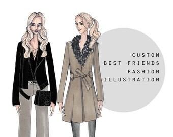 Custom Couple Portrait, Best Friend, Custom Fashion Illustration, Custom Fashion Art, Custom Gift, Digital File, Custom Illustration