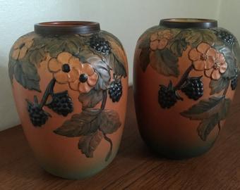 Pair of vases by P Ipsen's Widow (P Ipsens Enke) a Danish terra-cotta pottery, Scandinavian ceramics from mid 19th century to 1955, P.I.E.