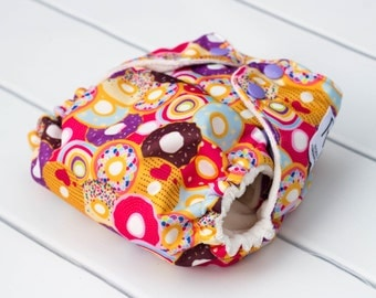 One Size Cloth Diapers. Sprinkled Donut Cloth Diaper. All in One. All In 2. Diaper Cover and Insert. OS Cloth Diaper. Bamboo Velour Insert.