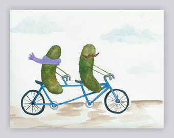 Whimsical Pickles on a Bicycle Built for Two Original Watercolor Painting