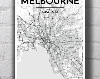 Black & White Melbourne City Map Print