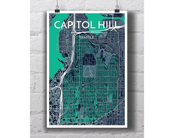 Capitol Hill - Seattle City Map Print