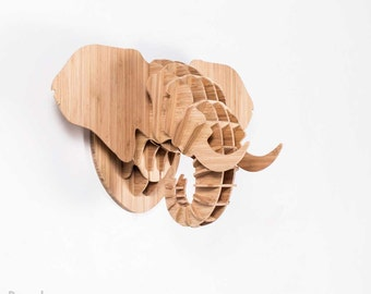 Wall Mounted Bamboo Animal Trophy Head Sculpture: ELEPHANT / Flatpacked / Medium / 3 dimensional / wall decor