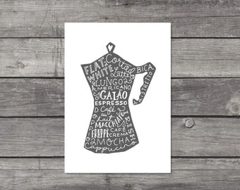 Coffee Print, Coffee Lover Gift, Barista Gift, Coffee Wall Art, Kitchen Decor, Coffee Pot Print, Kitchen Art, Illustration, Typography Print