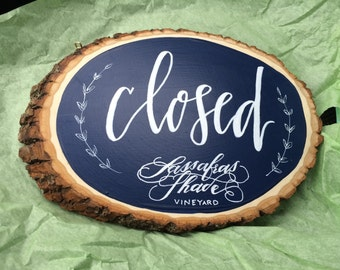Calligraphy Open and Closed Wood Plaque, Business Wood Plaque, Wood Slice