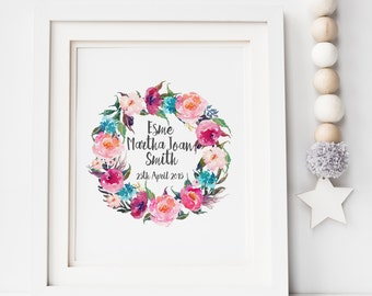 Baby Name Floral Wreath Print - New Baby Print - Floral Print - Floral Wreath - Wall Art - Nursery Print