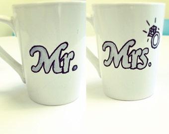 Newlywed Coffee Mugs, Wedding, Mr., Mrs., Personalized, oversized mugs