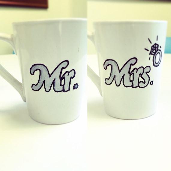 Engraved Wedding Coffee Mugs : Newlywed Coffee Mugs, Wedding, Mr., Mrs., Personalized, oversized mugs