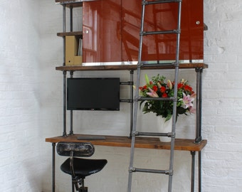 Nascha Dark Steel, Chestnut Stained Reclaimed Scaffolding Board Desk and Shelf Unit with Painted Glass Sliding Doors and Rolling Ladders