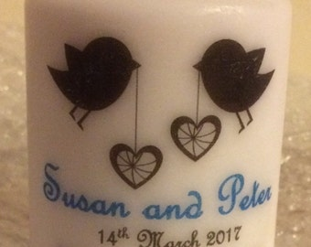 Love birds silhouette wedding candle favour 8cm - personalised
