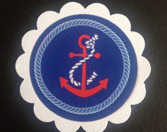 Nautical Red White & Blue Anchor Favor/Treat Tags Cupcake Toppers