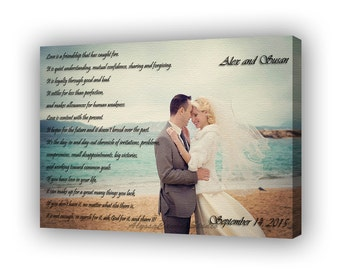 Personalized Photo Canvas. Canvas Photo Decor Words, Vows, Lyrics, Gallery Wrapped Canvas, Unique Wall Decor, Christmas Gift