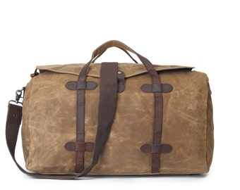 Lidded Leather Canvas Duffel Bag (Khaki)