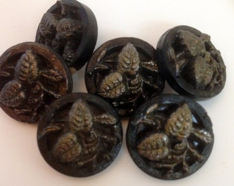 Antique black glass buttons, silver lustre, leaves