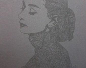 Black on Black Barely There Audrey Hepburn Zentangle A4 Art Print