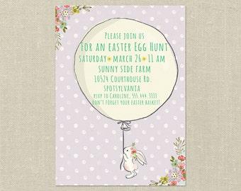 Printable Easter Invitation---Custom, Whimsical Egg Hunt Invites
