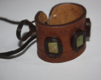 Thick Leather Bracelet with Natural Stones