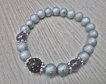 Bracelet améthyst and crystal