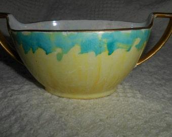 Z S & Co Bavaria Art Deco Sugar Bowl Pearlized Yellow Iridescent Ca 1880 - 1918