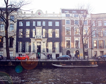 Amsterdam Canal Small Boat on a Canal in Amsterdam Amsterdam Photography Amsterdam Canal Photography Wall Art Travel Photography Color