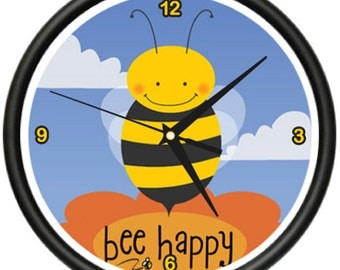 Bee Wall Clock Bumble Childrens Babys Room Decor Gift