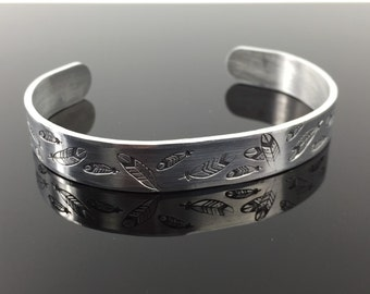 """Feathers Everywhere Hand Stamped Embellished Aluminum Bracelet Cuff Secret Message; Personalized 3/8""""x6; Great Gift for Mom or Graduation"""