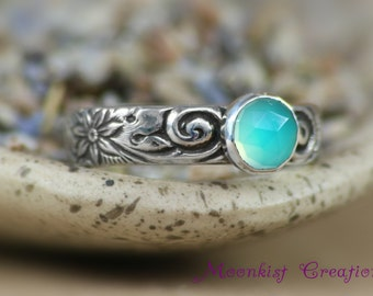 Size 7 - Aqua Chalcedony Bezel-Set Solitaire In Sterling - Silver Spiral and Flower Promise or Engagement Ring - Ready To Ship Gift
