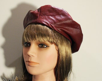 Recycled leather beret, Burgundy or black. Recycled leather beret. Burgundy black gold. Katipo Art