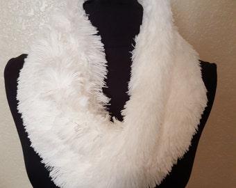 faux fur cowl scarf, light ivory