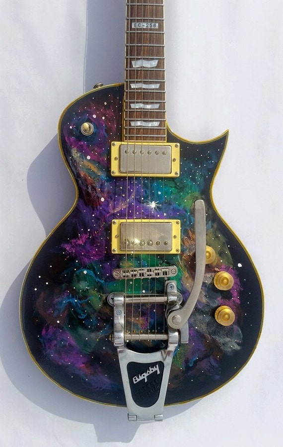Hand painted galactic space guitar esp ltd electric for Outer space guitar