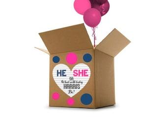 Custom Name Gender Reveal Balloon Box Heart Sign - Gender Reveal Idea - Gender Reveal Party Decoration - Gender Reveal Digital File ONLY