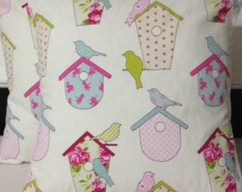2 x Ashley Wilde Thornbury Birds Birdhouses Pink Lime Off-White Blue Cushion Covers