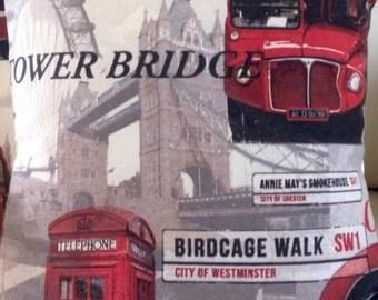 "16"" Digital Print London Big Ben London Eye Underground Red Black Grey cushion"