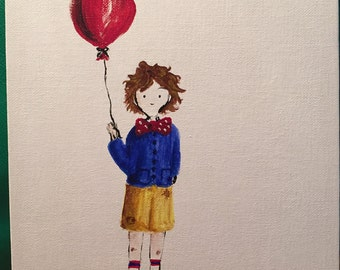 Acrylic painting, 8x10 Boy with Balloon