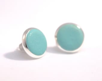 Earrings Studs Polymer Clay Blue Turquoise