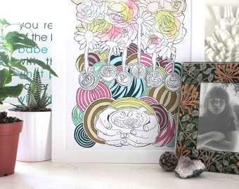 Latte Flowers Print