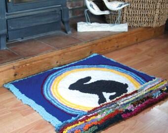 Rainbow Hare, Handmade Rag Rug