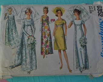 Simplicity 6352, Vintage Bridal Pattern, Vintage Sewing Pattern, Junior Size 11, Old Bridal Pattern