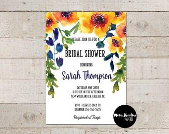 Bridal Shower Invitation | Watercolor Floral | Orange Navy | Spring | Summer | Printable/Digital