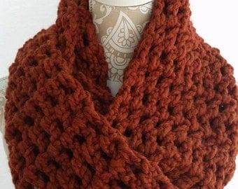 Pumpkin Colored Infinity Crochet Scarf