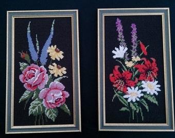 A Pair of Framed Vintage Tapestry Pictures. Framed Gobelin Still Life Flowers Pictures ROP0035