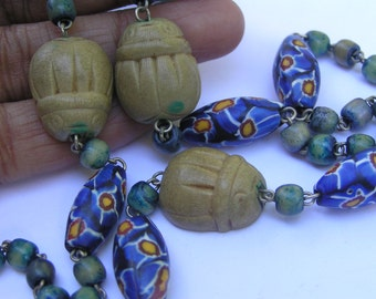 Vintage  beaded Necklace . Egyptian revival Jewelry