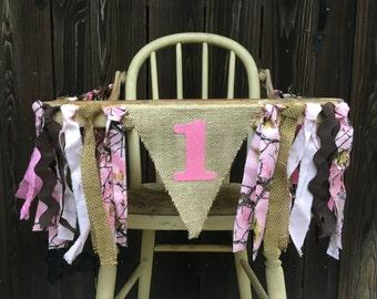 High Chair Banner, Camo, 1st Birthday, Birthday Banner, Hunting Banner, Camo Banner, Pink Camo, Girl Birthday, Burlap Banner, Baby Shower