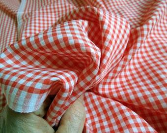 SALE 2 Yards Rockabilly Gingham Check Silky Fabric.