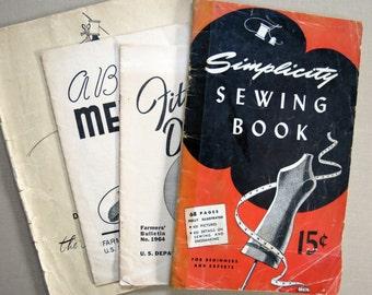 Sewing Fashion Ephemera Pamphlets from Simplicity and Farmer's Bulletin and Macy's.