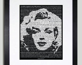 Marilyn Monroe Typography Art, 11x14 Print, Limited Edition, A Collage Of Memorable quotes from Harry Marilyn Monroe (Print Only)