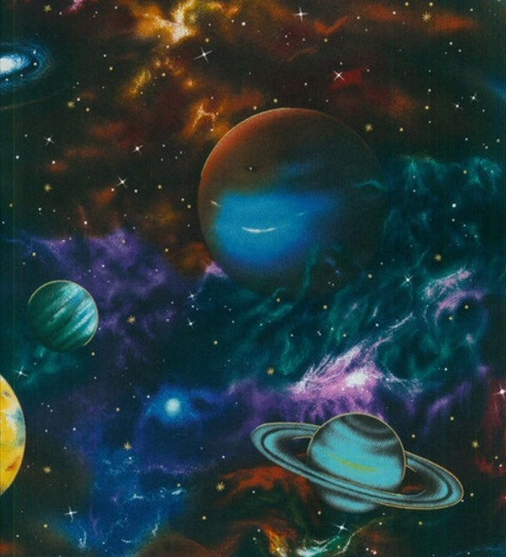 Planets outer space solar system fabric galaxy fabric for Outer space designs norwich