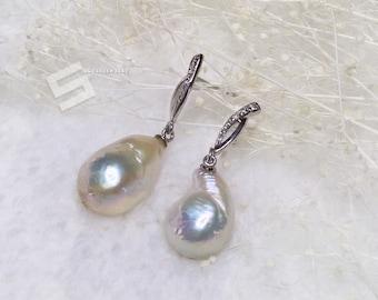18-20MM Huge Real Pearl Earrings, Edison Pearls In Sterling Silver Ear Dangles,  Baroque Pearl Earring Drops